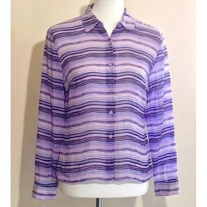 AnnTaylor Purple Stripe Silk Button Down Blouse